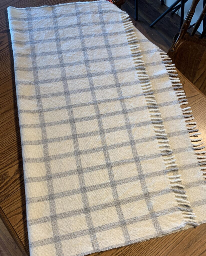 White blanket with blue grid